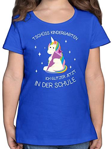 Einschulung und Schulanfang - Einschulung Einhorn Tschüss Kindergarten Schultüte - 128 (7/8 Jahre) - Royalblau - schultüte - F131K - Mädchen Kinder T-Shirt