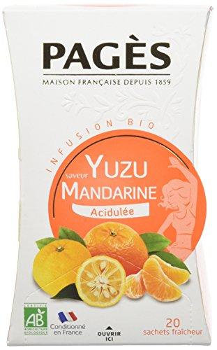 Pagès Infusion Saveur Yuzu Mandarine acidulee Bio 20 sachets 30 g