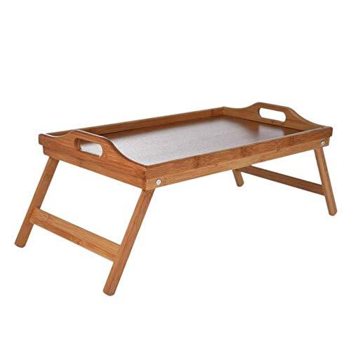 Natuurlijke bamboe ontbijt dienblad met handvat serveren ontbijt op bed of gebruik als tv-tafel Opvouwbare nachtkastje Laptop Bureau, bamboe hout