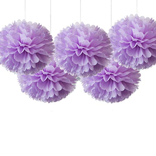 16' Pink Lavender Tissue Pom Poms, Paper Flower Ceiling Hanging Party Decorations, Pack of 5