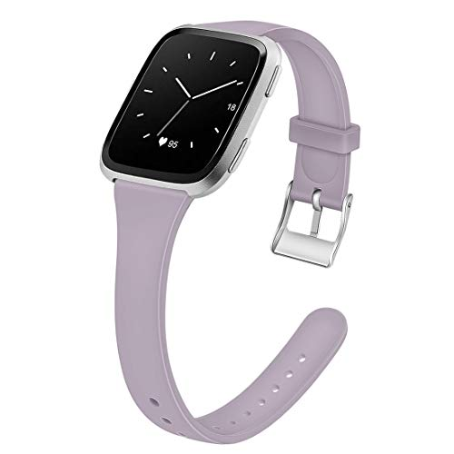 Armband Silikon Armbänder Schmaler Gurt Smartwatch Ersatzband Für Die Sport Edition Frauen Männer Jugend Kinder (Color : Lavender, Size : 6.7-8.1inch)