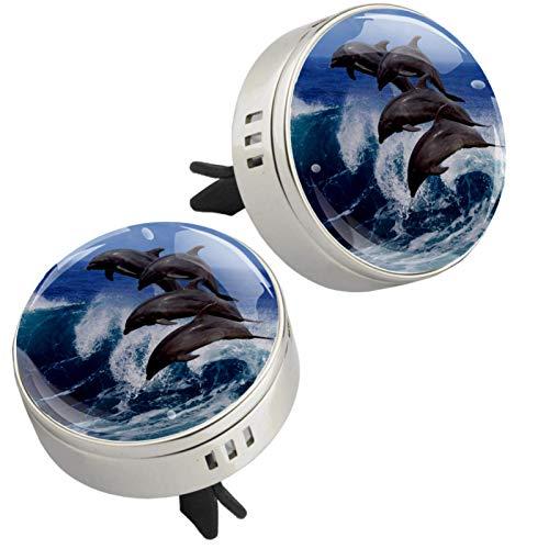 MUOOUM Ocean Dolphin - Ambientador para coche, aroma de coche, aroma a perfume (plateado)
