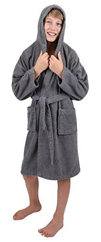 Betz Peignoir de Bain Capuche Nizza en Tissu éponge 100% Coton Femme Homme Enfant Peignoir de Sport en Couleurs et Tailles diverses 128-164 et S-XXL (128 - Anthracite)