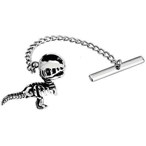 HAWSON Men's Tie Pin with Chain Interesting Animal Shape Tie Tacks for Men Necktie Accessory (Dinosaur Skeletons Tie Tack Pins Gun Color)