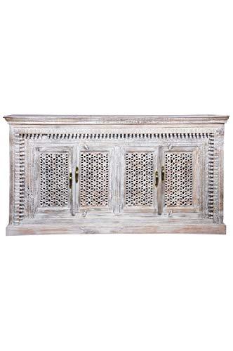 Cómoda oriental Hamoudi de 190 cm, color blanco y marrón, estilo oriental vintage, adornada a mano, aparador indio de madera, muebles asiáticos de la India