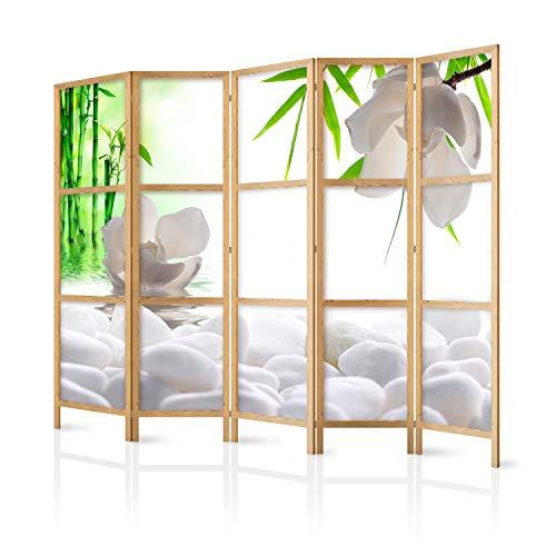 murando - Paravent XXL Blumen Bambus Spa 225x171 cm 5-teilig einseitig eleganter Sichtschutz Raumteiler Trennwand Raumtrenner Holz Design Motiv Deko Home Office Japan p-B-0036-z-c