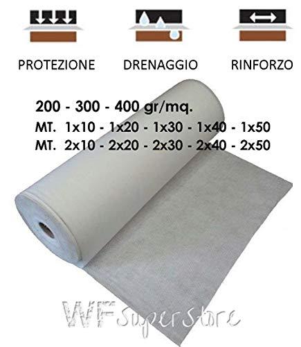 WUEFFE S.R.L. Geotessuto drenante Tessuto Non Tessuto Anti Erbacce Telo antiradice TNT pacciamatura (200 Grammi/mq, mt. 2x20 = 40 mq.)