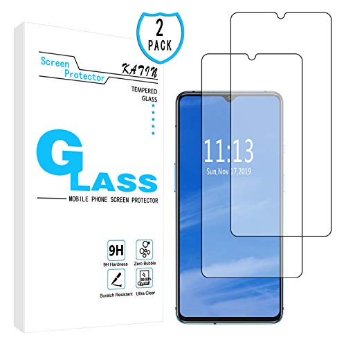 KATIN OnePlus 7T Screen Protector - [2-Pack] Tempered Glass for OnePlus 7T Screen Protector Easy to Install, Bubble Free with Lifetime Replacement Warranty