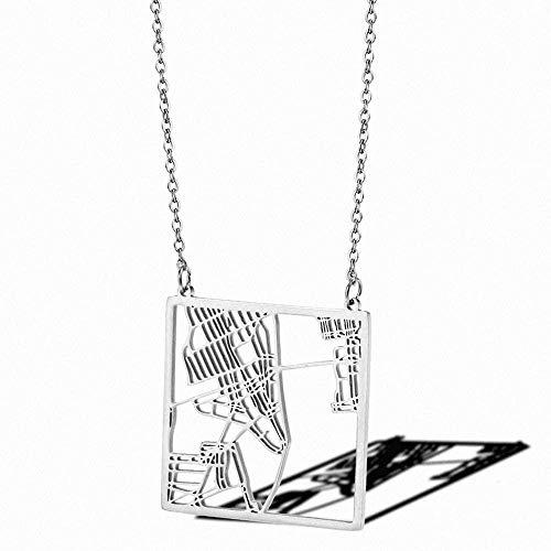 YZXYZH Collar De Mapa De La Ciudad De Nueva York Cuadrado Estados Unidos NY Us Jewelry City Skyline Collares Pendientes Regalos del Día De La Raza Collar