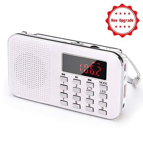 PRUNUS L-218AM Portable Mini Radio AM(MW)/FM/Micro TF Card/USB/MP3, 1200mAh accu. winkels en zenders [alleen automatisch].