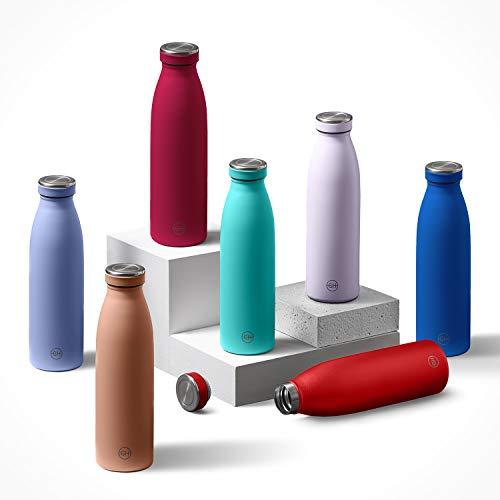 GH Botella de Agua acero Inoxidable 500ml Flor Lila | Frasco de Agua de Metal Reutilizable | Botella Termica Doble pared al vacío | Botella de bebida reutilizable Sin BPA, Antigoteo y Prueba d