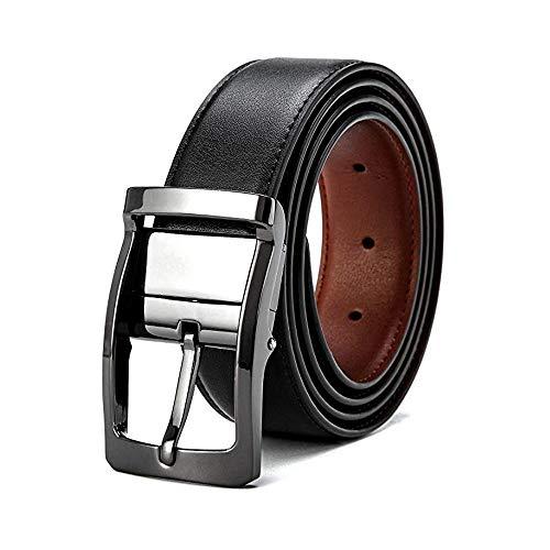 VICSPORT Cintura in pelle da uomo Cintura in metallo da uomo Cintura reversibile in metallo