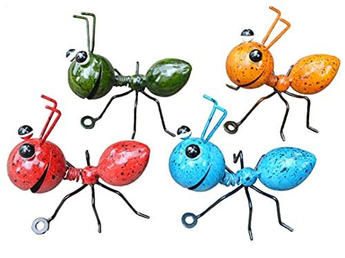 GIFTME 5 Metal Ant Wall Decor Set of 4 Colorful Indoor Bathroom Kid's Room or Outdoor Garden Yard Art Wall Sculptures