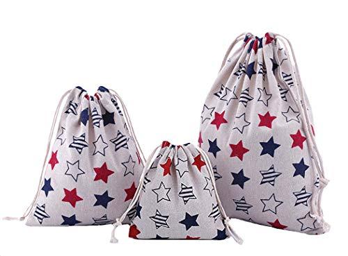 Amoyie-Lot de 3/4 adorables sacs de rangement réutilisables avec cordon de serrage pour accessoires de maquillage, de voyage, quotidiens, couches-culottes, vêtements d'enfant beige Etoiles 3 pcs