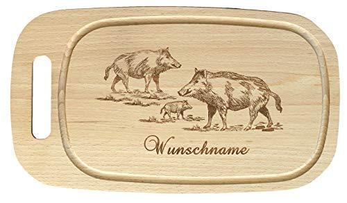 Feiner-Tropfen Holzteller mit Gravur rund 36cm Buche groß Motiv Wildschwein