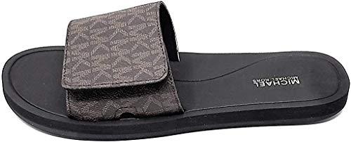 Michael Kors Wade Slide Sandals,Mini Mk,PVC, Brown (Numeric_8)