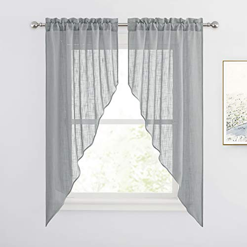 RYB HOME Linen Sheer Window Topper Curtains Valances and Tiers Pair, Farmhouse Privacy Curtains for Bedroom Home Office Dining Room Decoration, W 36 x L 63 Each, Set of 2, Deep Grey