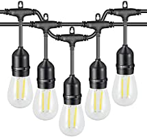 VAVOFO Outdoor String Lights 48FT Warm White with 1.5W Dimmable LED Patio String Lights Waterproof Heavy Duty Hanging...