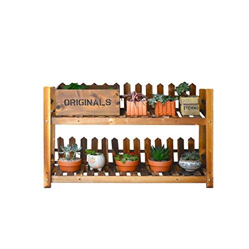 Support de fleur en bois, support de plante à 2 niveaux, présentoir de fleurs d'intérieur, support de stockage 70 * 28 * 51CM