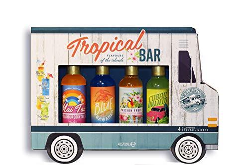 Modern Gourmet Foods Cocktail-Mix Geschenkset - 4 Aromen für Tropische Cocktails in Cocktail-Truck Geschenkbox - 4x70ml