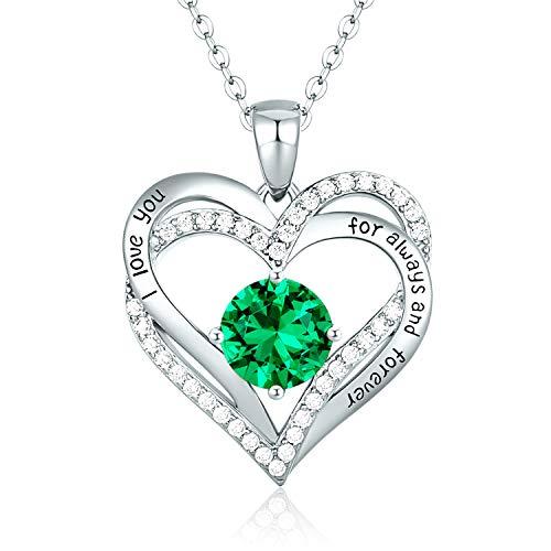 CDE Collares de Corazón para Mujer de Plata 925 Collares Colgante de Mujer Colgante de Diamantes Niña, con Caja Regalo, Regalo para Día de la Madre Esposa y Novia Verde