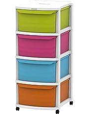 Cosmoplast Plastic Multipurpose 4 Drawer Storage Cabinet with Wheels, IFHHST543WM, White Mix