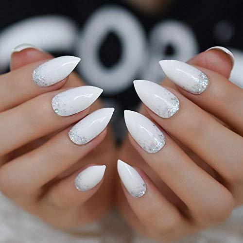CLOAAE Glitter Stilt Nails White Silver Powder Nails Medium Artificial Bright Diamond False Nails Pre-Design 24