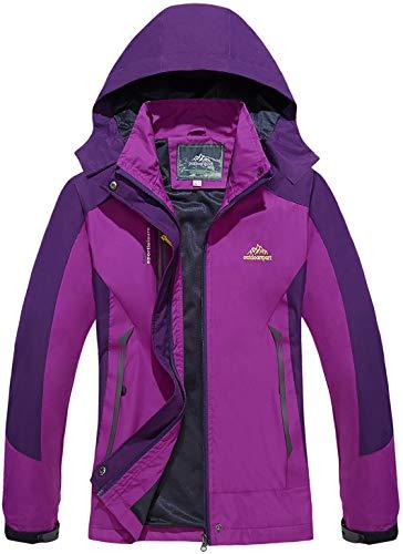 Veste Imperméable Femme Vestes Casual Automne Vestes Légère Respirant Blouson pour Femmes Outdoor Loisirs Coupe-Vent Veste Sport Ski Rain Veste d'hiver Chaude Vestes Randonnée Trekking Violet Purple