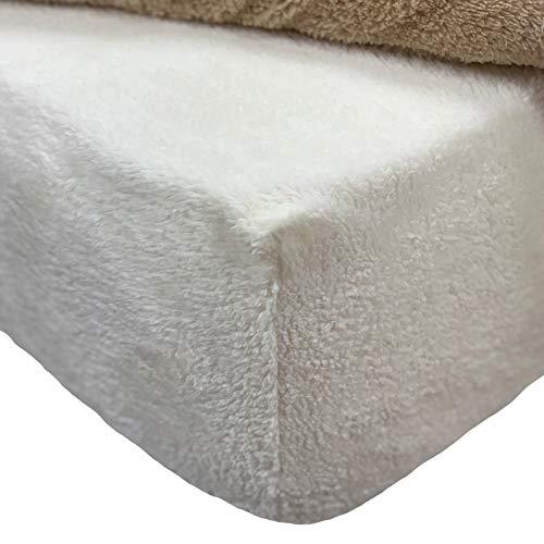 Brentfords Teddy - Sábana Bajera Ajustable de Forro Polar para Cama de Matrimonio, Color Crema Marfil