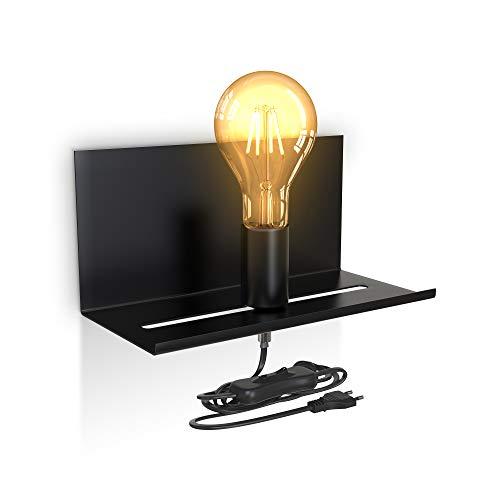 B.K.Licht I Lámpara de pared ajustable con estante I Interruptor de cable I Negro mate I 1 llama I E27 I Lámpara de pared retro