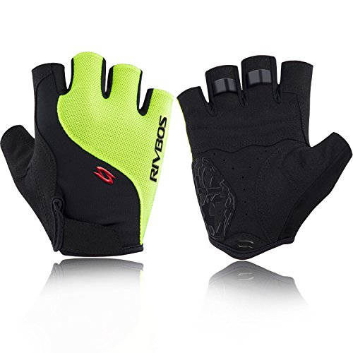 RIVBOS Bike Gloves Cycling Gloves Fingerless for Men Women with GEL Padding Breathable Mesh Fashion Design for Mountain Bicycle Motorcycle Riding Driving Sports Outdoors Exercise CHG005 (Yellow XL)