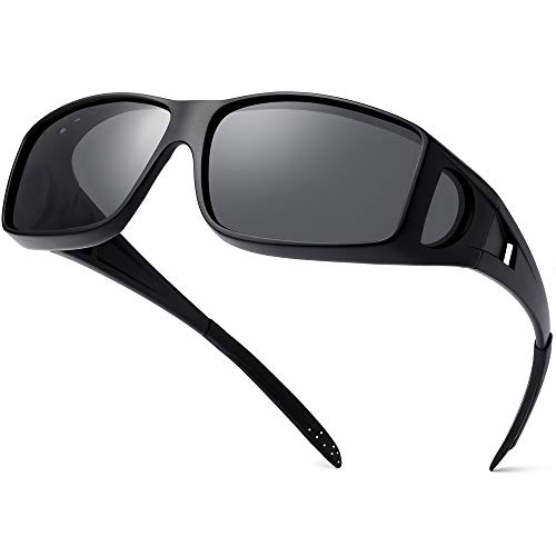 Polarized Sunglasses Fit Over Glasses for Men Women, Wrap Around Sunglasses Over Prescription Glasses UV400 Protection (Matte Black Frame/Grey Lens)