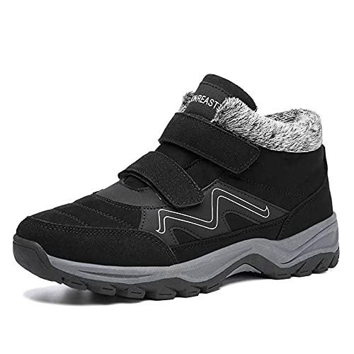 Buty zimowe visionreast, męskie, damskie, ciepłe, zimowe buty trekkingowe, antypoślizgowe, z zapięciem na rzepy, czarny - czarny - 44 EU