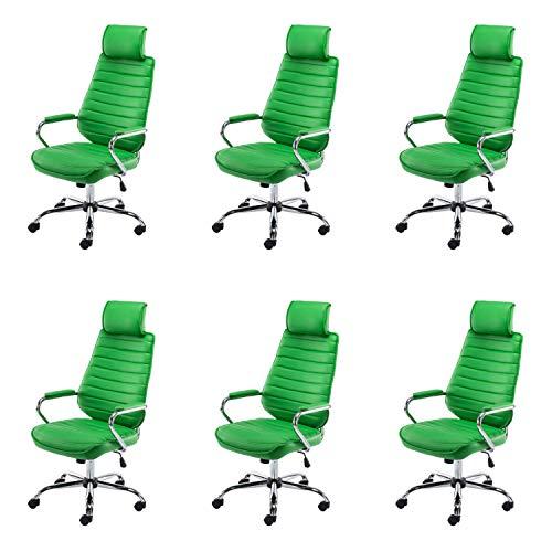 Lüllmann Rako V2 - Lote de 6 sillas de oficina giratorias, color verde