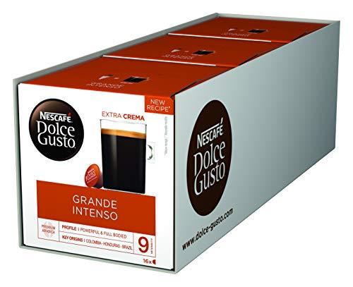 NESCAFÉ Dolce Gusto Grande Intenso 48 Kaffeekapseln (Arabica Bohnen aus Ostafrika und Südamerika, Haselnussbraune Crema, Aromaversiegelte Kapseln) 3er Pack (3 x 16 Kapseln)