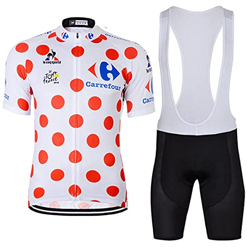 Mujer Hombre Conjunto Ropa de Ciclismo para Verano Transpirable Camiseta Corta, Top de Ciclismo + Culote Bicicleta 5D Badana Gel,E(Bibshorts)-L