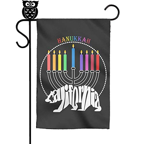BoDu Happy Hanukkah California Bear Candle Garden Flag Yard Home Flag 18 x 12.5 Inch
