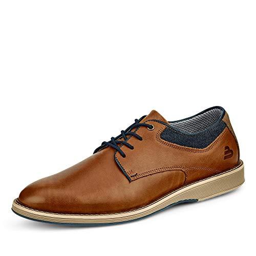 BULLBOXER Herren Schnürhalbschuhe, Männer sportlicher Schnürer, Men's Business geschäftsreise geschäftlich büro Sneaker,Cognac,46 EU / 11 UK