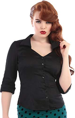 Collectif Damen Oberteil Mona Button Up Vintage Hemd Bluse Schwarz M