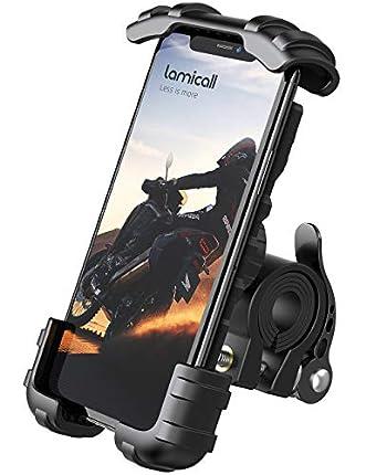 Lamicall Soporte Movil Moto, Soporte Movil Bicicleta - Rotación 360° Soporte Manillar