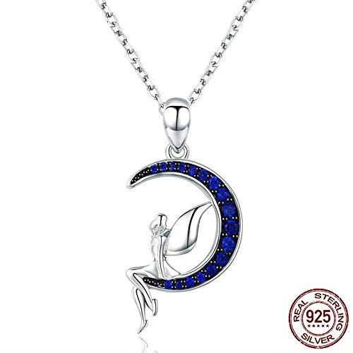 YAYADI Collar De Plata Mujer,El 100% De La Plata Esterlina 925 Lucky Hada De Luna Azul Colgante Collares Mujer Sterling Silver Jewelry Don Scn244