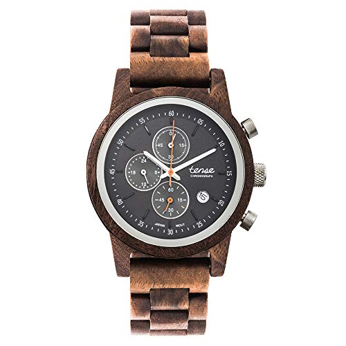 TENSE Cambridge Walnuss Chronograph Holzuhr Walnuss Armbanduhr für Herren 40mm Holz Quarz Chrono analog B4702W-B