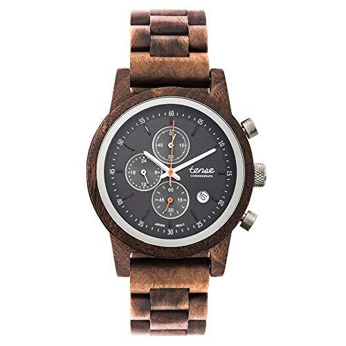 TENSE Cambridge Walnuss Chronograph Holzuhr Walnuss Armbanduhr für Herren 40mm Holz Quarz Chrono analog B4702W-B