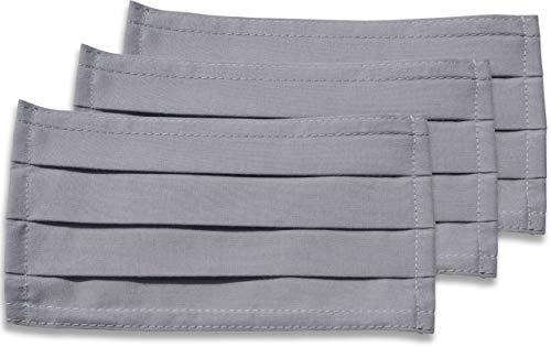 fashionchimp ® 3er-Set Mundschutz-Maske aus 100% Baumwolle, Gesichtsmaske, waschbar, EU-Ware, OEKOTEX (Hellgrau)