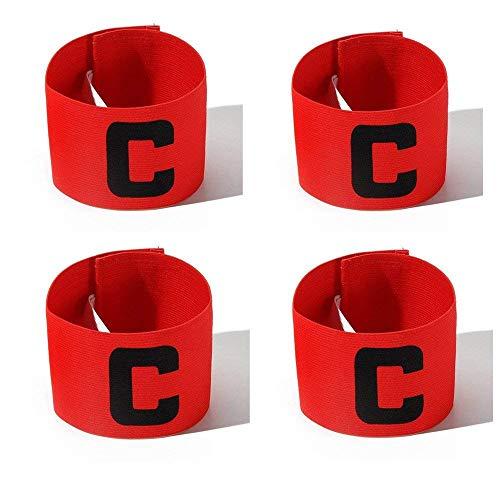 Wendy Mall Sportarmband für Kinder, bunt, für Fußballspieler, flexibel, verstellbar, 4 Stück, rot