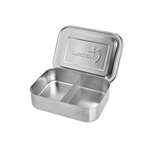 LunchBots Small Snack Packer Toddler Bento Box - Extra Small Divided Stainless Steel Snack Container - 2 Compartments for Fruits, Vegetables and Finger Foods - Dishwasher Safe  Stainless Lid