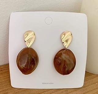 Earrings 2 Pairs Women Acrylic Drop Earrings Geometry Classic Zinc Alloy Dangle(Peacock Blue) Earrings (Color : Beige)