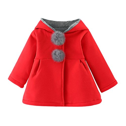 Coats Baby, Babies girls autumn Winter Coat Thick Jacket Warm Clothes 0-4 Years (Size: 9-18Mes, Red)