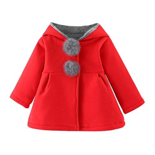 Abrigos Bebé, Amlaiworld Bebés niñas otoño Invierno Abrigo Chaqueta Gruesa Ropa Caliente 0-4 Años (Tamaño:3-4 Años, Rojo)