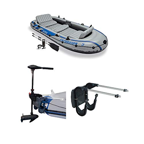 Intex 5 Person Inflatable Fishing Boat, Trolling Motor, & Boat Motor Mount Kit